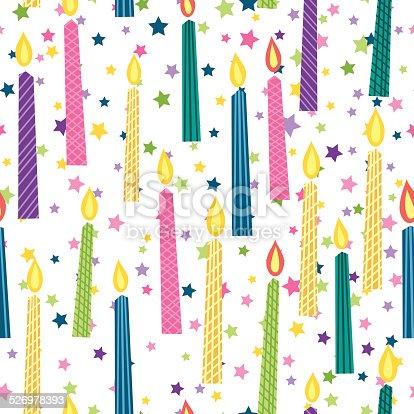 Cartoon Birthday Candles Seamless Background Pattern