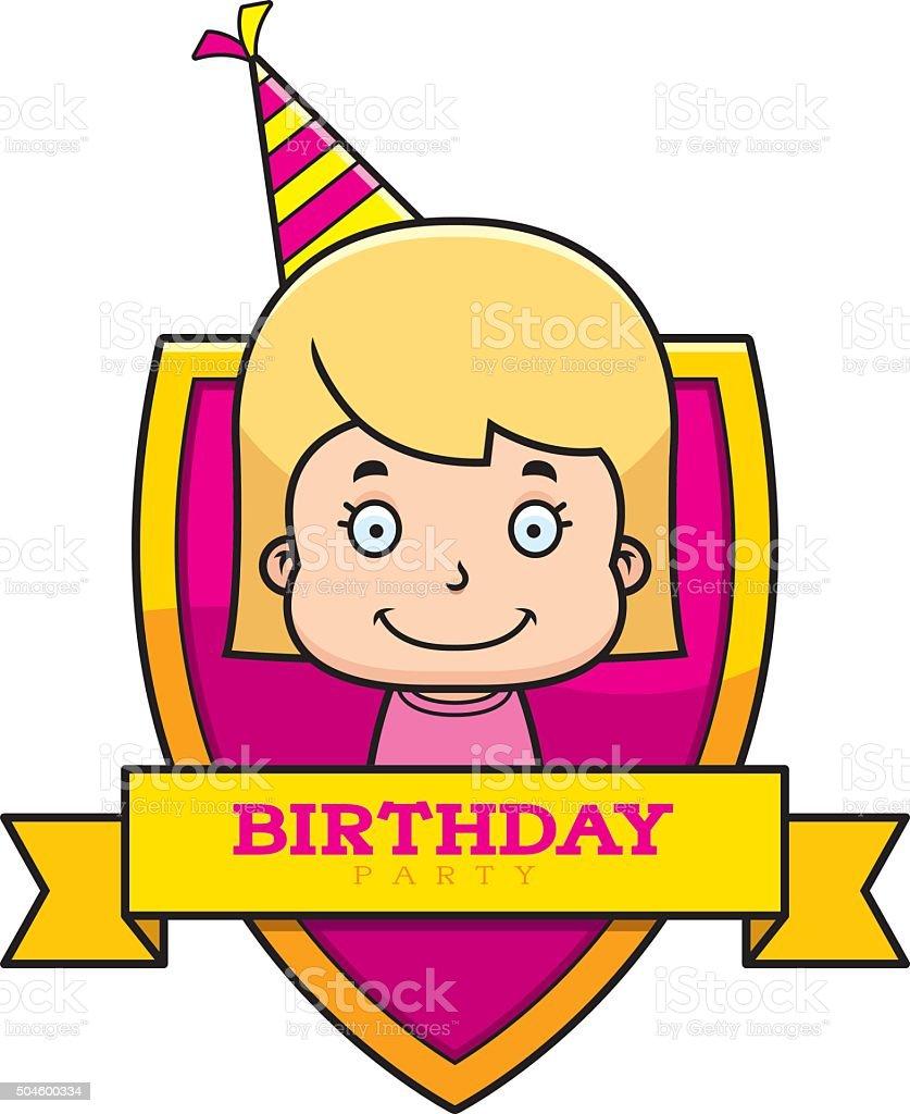 Cartoon Birthday Girl Graphic vector art illustration