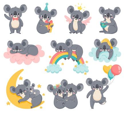 Cartoon birthday koalas. Lazy koala sleeping on cloud. Cute australian animals with balloons. Baby shower bear. Kids room decor vector set