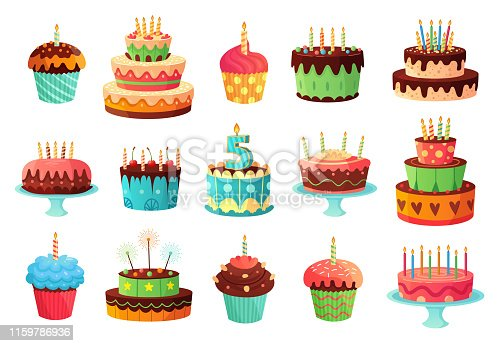 Cartoon birthday party cakes. Sweet baked cake, colorful cupcakes and celebration cakes. Birthdays holiday dessert, anniversary cake and cupcake decoration. Isolated vector illustration icons set