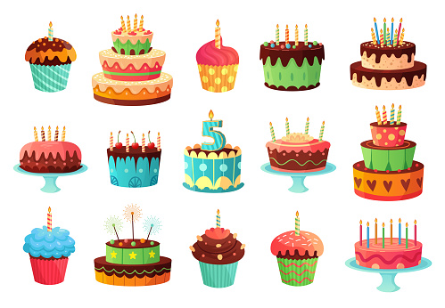Cartoon birthday party cakes. Sweet baked cake, colorful cupcakes and celebration cakes vector illustration set