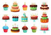 漫画の誕生日パーティーケーキ。甘い焼きケーキ、カラフルなカップケーキやお祝いケーキベクトルイラストセット