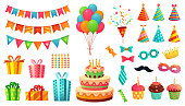 Cartoon birthday party decorations. Gifts presents, sweet cupcakes and celebration cake. Colorful balloons, carnival celebration food and candy. Isolated vector illustration icons set