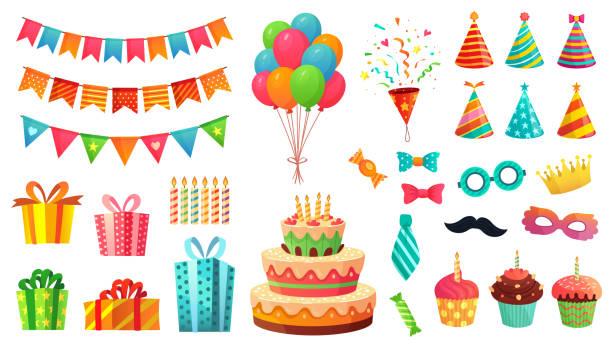 dekoracje urodzinowe z kreskówek. prezenty prezenty, słodkie babeczki i tort okolicznościowy. kolorowy zestaw ilustracji wektorowych balonów - ciasto stock illustrations