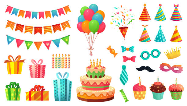 Cartoon birthday party decorations. Gifts presents, sweet cupcakes and celebration cake. Colorful balloons vector illustration set Cartoon birthday party decorations. Gifts presents, sweet cupcakes and celebration cake. Colorful balloons, carnival celebration food and candy. Isolated vector illustration icons set birthday stock illustrations