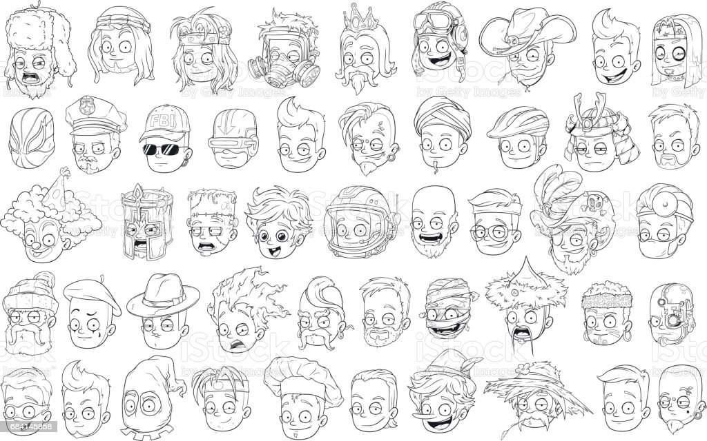 Cartoon black and white characters heads big vector set vector art illustration