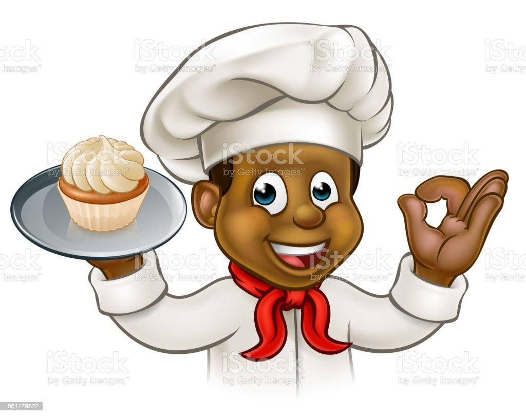 Ilustración De Dibujos Animados Negro Panadero O