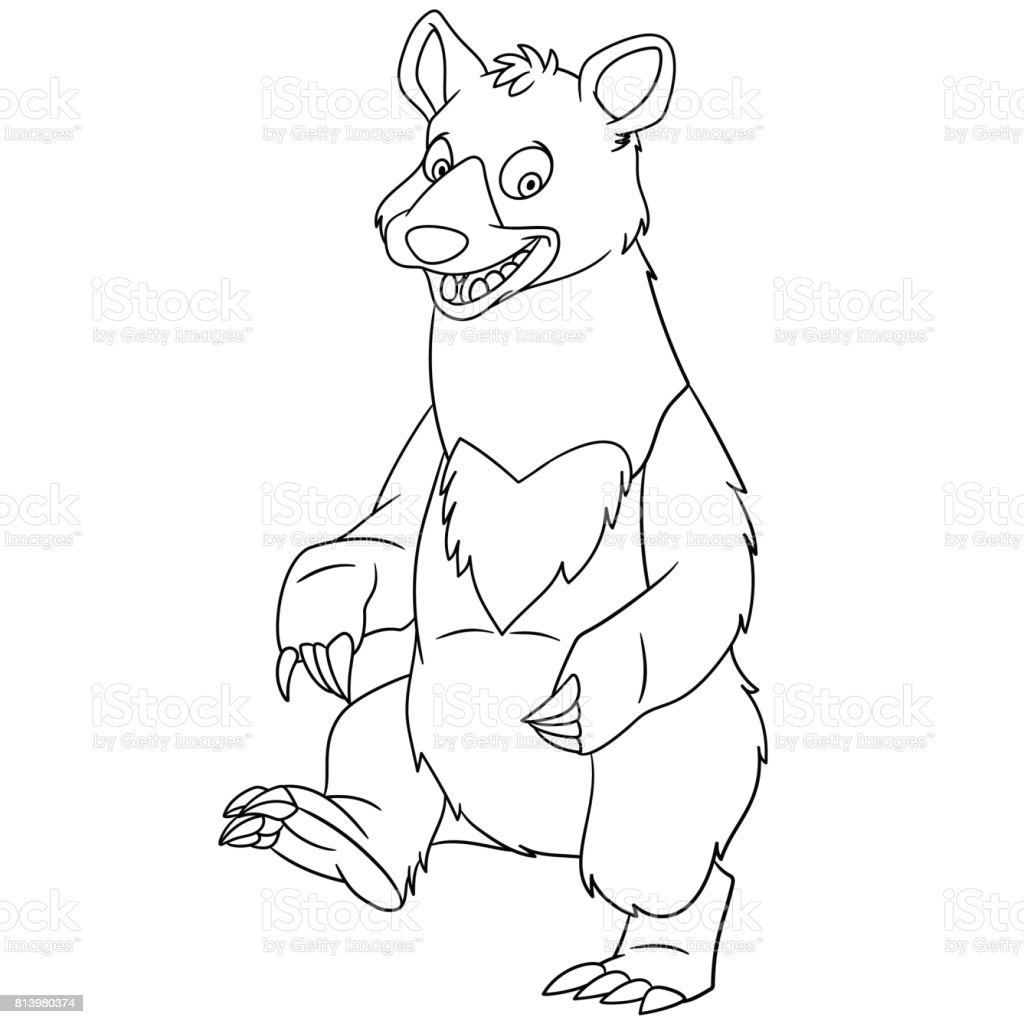 cartoon black bear coloring page vector art illustration
