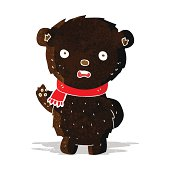 cartoon black bear wearing scarf