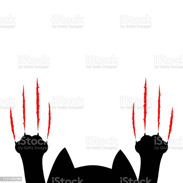 Cartoon black cat paw print and head silhouette red bloody claws vector id1141435288?b=1&k=6&m=1141435288&s=612x612&h=cgzcopa6szgblecklwd07udd kdwqm1 hh1n5 bksxs=