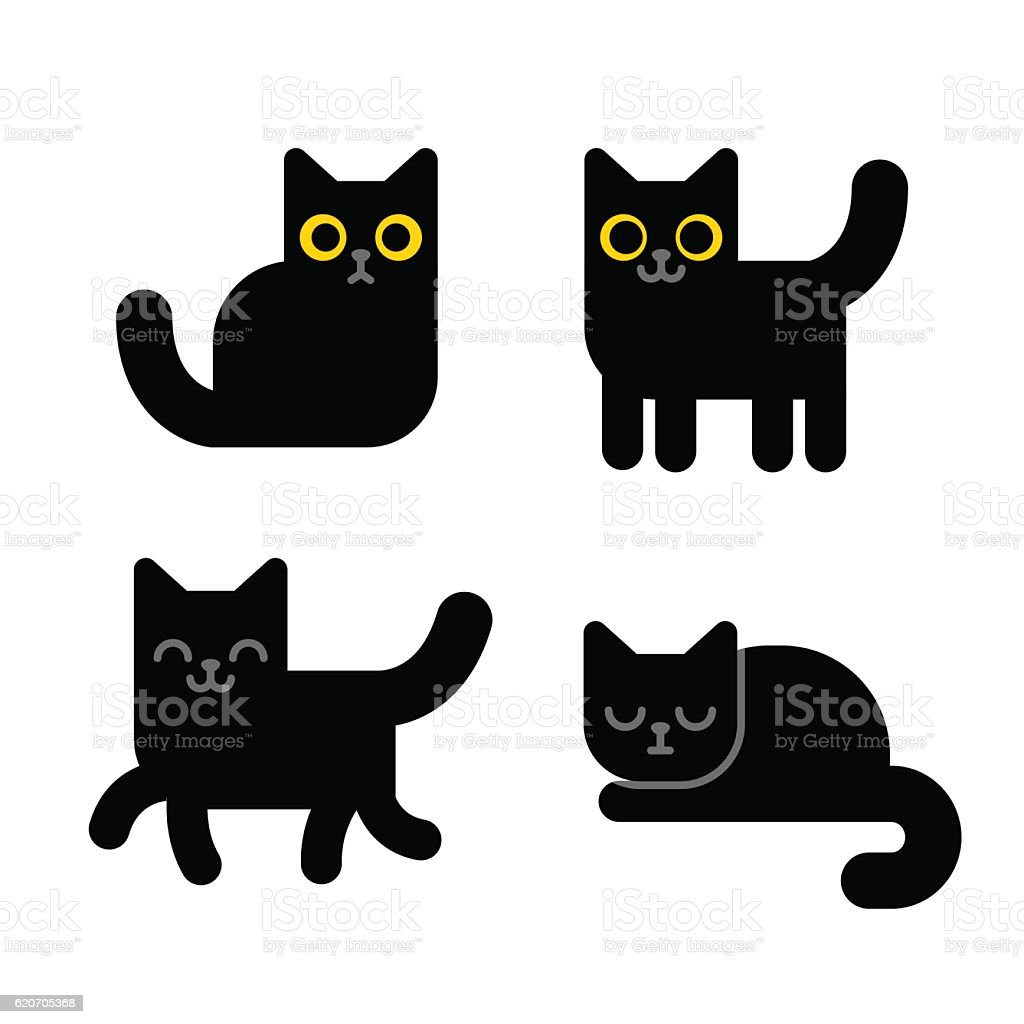 Cartoon black cat vector art illustration