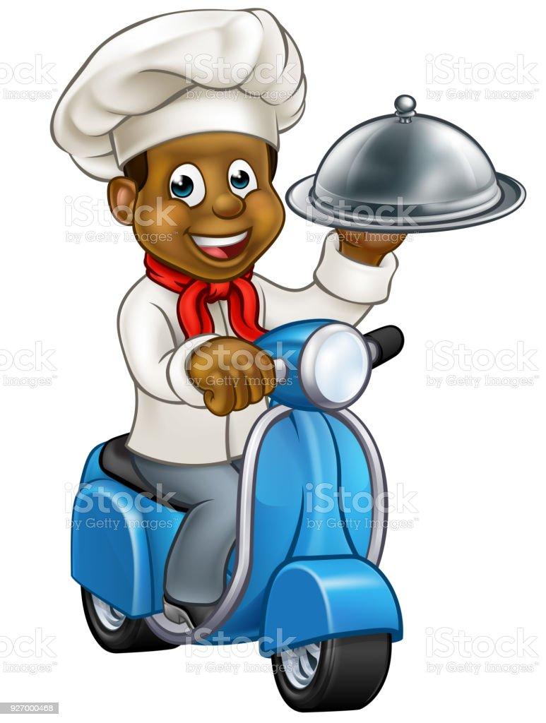 Cartoon Black Chef on Moped Scooter vector art illustration