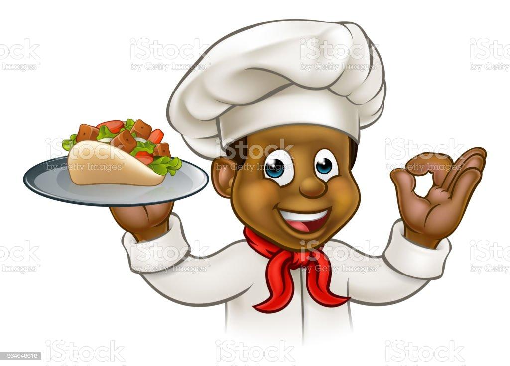 Cartoon Black Chef with Kebab vector art illustration