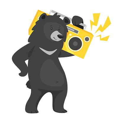 cartoon black cool bear