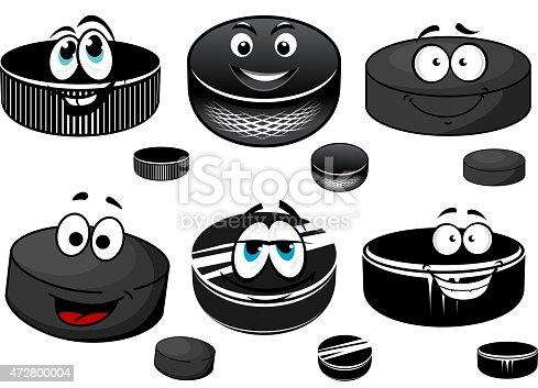 Noir dessin anim personnages de palets de hockey sur glace vecteurs libres de droits et plus d - Dessin hockey sur glace ...