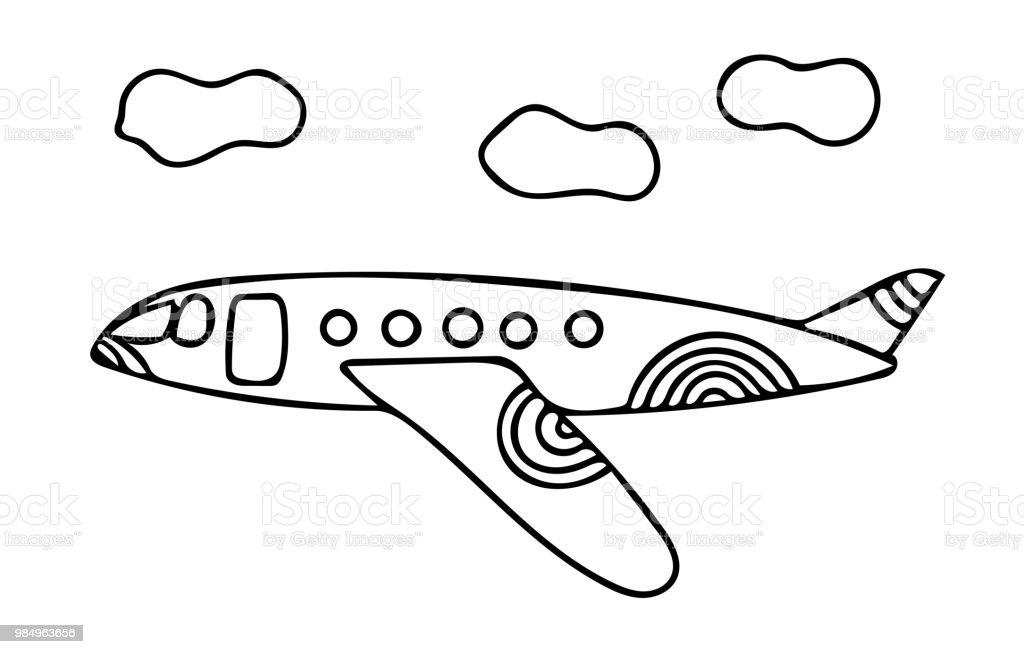 çizgi Film Siyah çizgi Uçak Için Kitap Veya Sayfa Boyama Stok Vektör