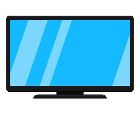 Cartoon black modern tv isolated on white