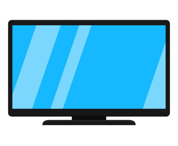 白で隔離黒の近代的なテレビを漫画します。 - テレビ点のイラスト素材/クリップアート素材/マンガ素材/アイコン素材