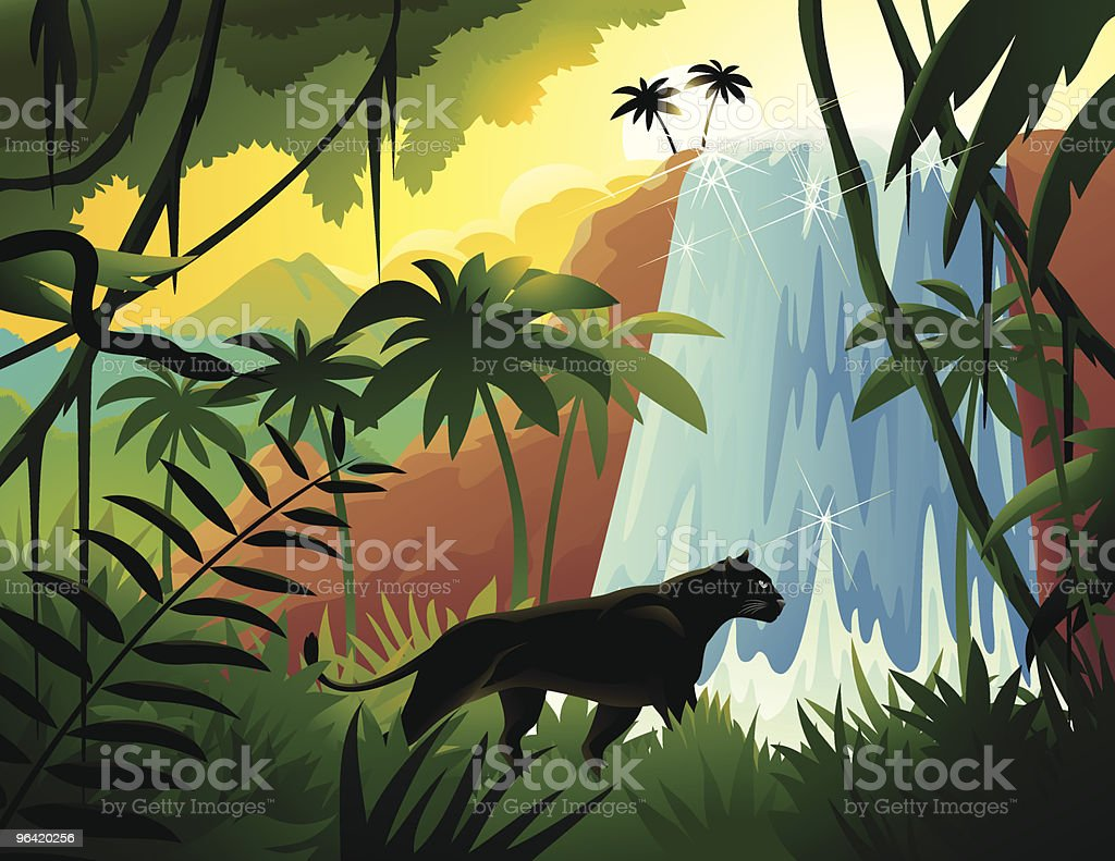 Cartoon Black Panther in Tropical Jungle Near Waterfall vector art illustration