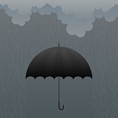 Cartoon black umbrella in rain on grey background
