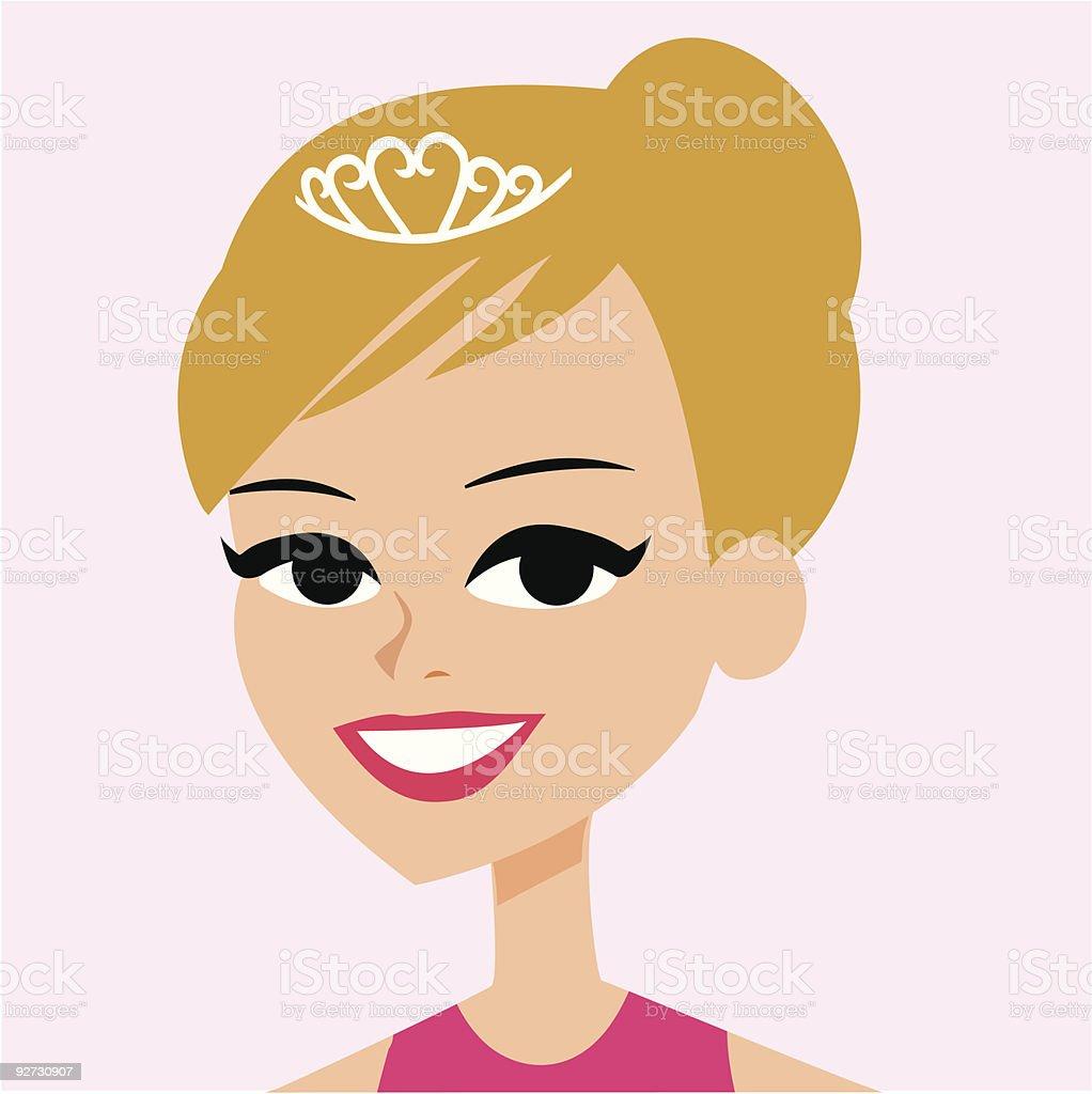 Cartoon Blond girl with tiara royalty-free stock vector art
