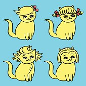 Cartoon blonde hairstyles kawai cats. Isolated flat vector illustration