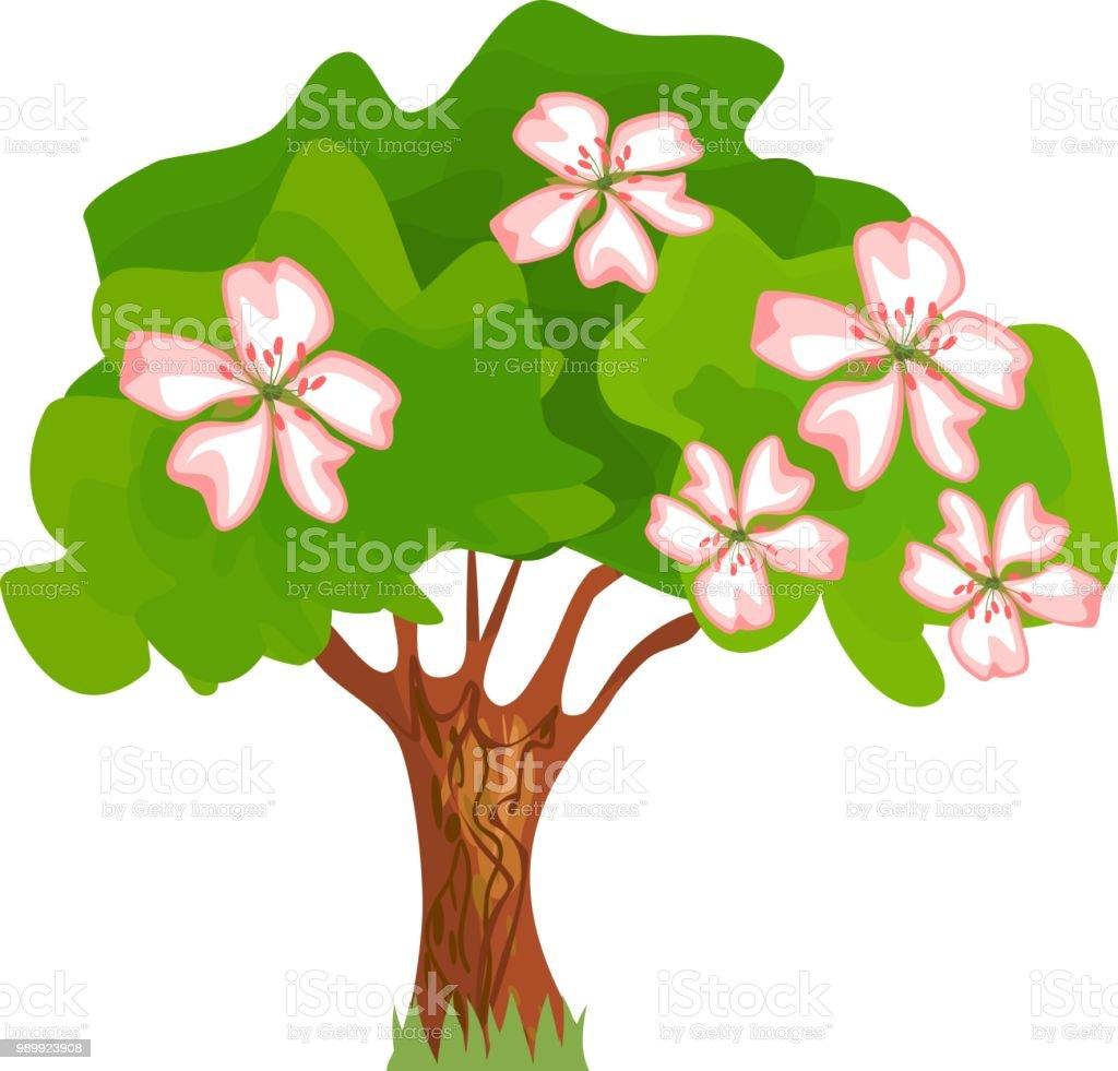 Ilustracion De Dibujos Animados De Flor De Arbol Con Hojas Verdes Y