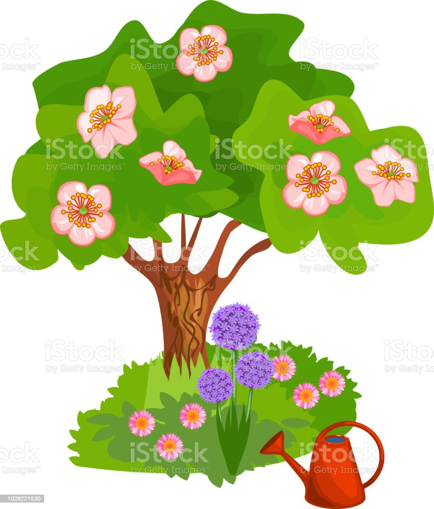 Cartoon Blooming Tree With Pink Flowers And Grass Near Trunk On