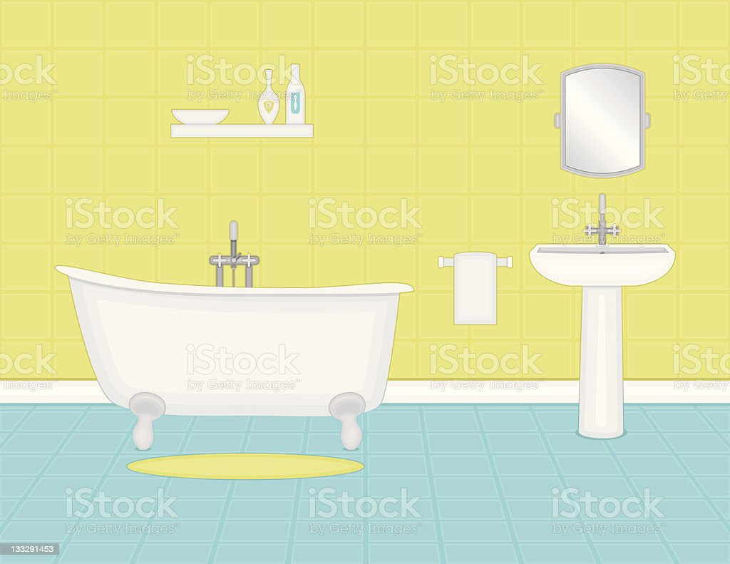 Cartoon Blue And Yellow Bathroom With Tub And Sink Stock Vector Art ...