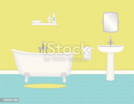 cartoon blue and yellow bathroom with tub and sink stock vector art more images of bathroom. Black Bedroom Furniture Sets. Home Design Ideas