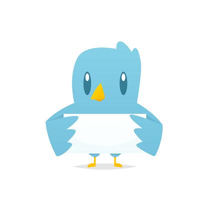 Cartoon Blue Bird Holding Blank Banner Vector Stock Illustration Download Image Now Istock