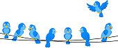 Cartoon blue bird on wire