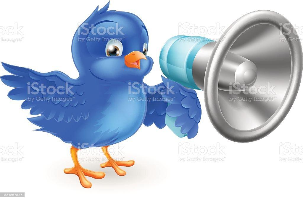 Cartoon blue bird with mega phone vector art illustration