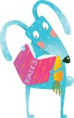 Cute cartoon blue bunny with carrot reading tales book. Funny wildlife. Cartoon character for children books, animals greeting cards and other projects. Vector illustration in bright colors.