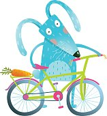 Funny blue bunny with bicycle and carrot in trunk. Cute rabbit bicyclist. Isolated cartoon character for children books, greeting cards and other design projects. Vector illustration