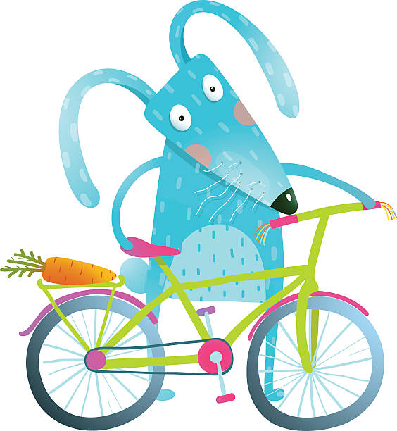 cartoon blue bunny with bicycle - lustige fahrrad stock-grafiken, -clipart, -cartoons und -symbole