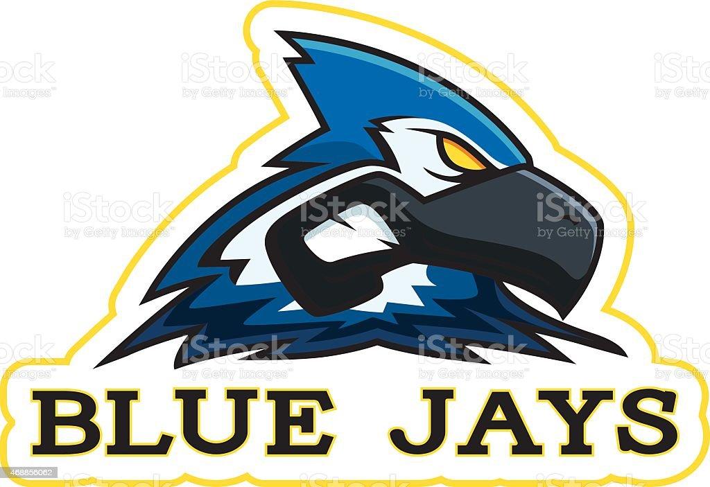 Cartoon Blue Jay Mascot vector art illustration