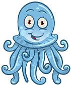 Cartoon blue jellyfish for sea life design