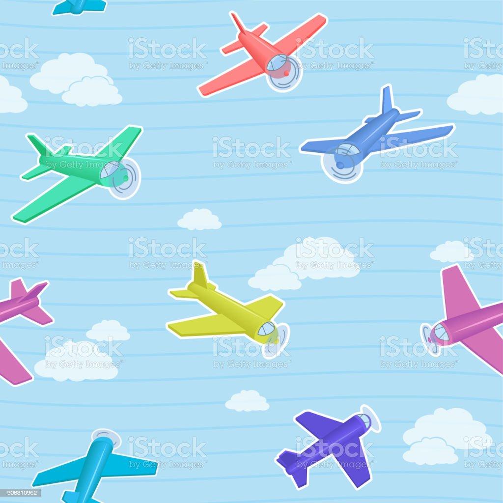 Modele Bleu Vectorielle Continue Dessin Anime Avec Des Avions Colorees Pour Enfants Vecteurs Libres De Droits Et Plus D Images Vectorielles De Avion Istock