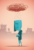 Cartoon blue woman with a scribbled rain cloud above her