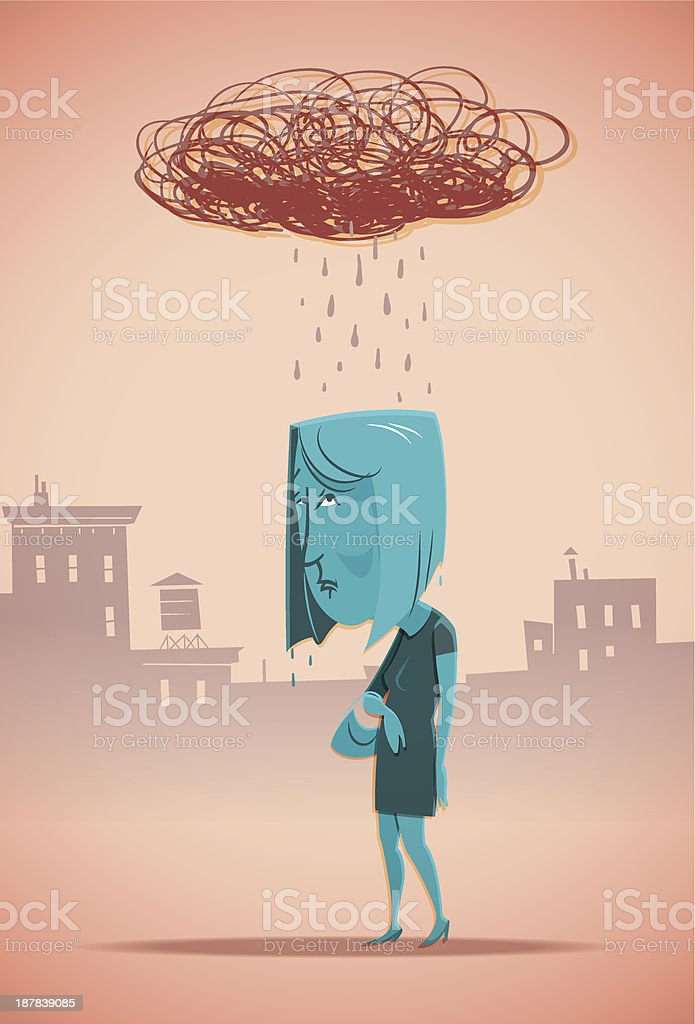 Cartoon blue woman with a scribbled rain cloud above her vector art illustration
