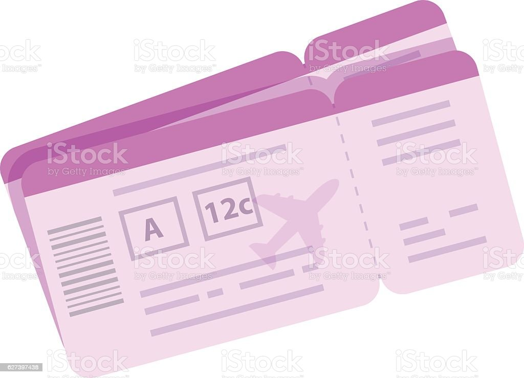Cartoon boarding pass vector illustration. Tickets for airplane travel – Vektorgrafik