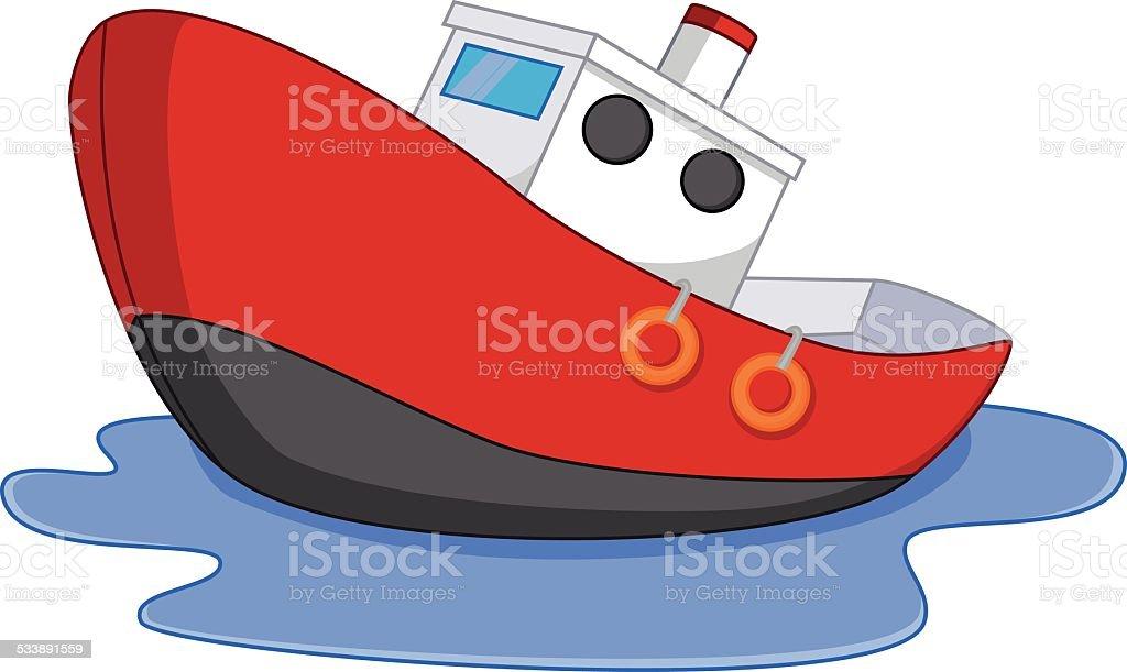 Cartoon boat with water vector art illustration
