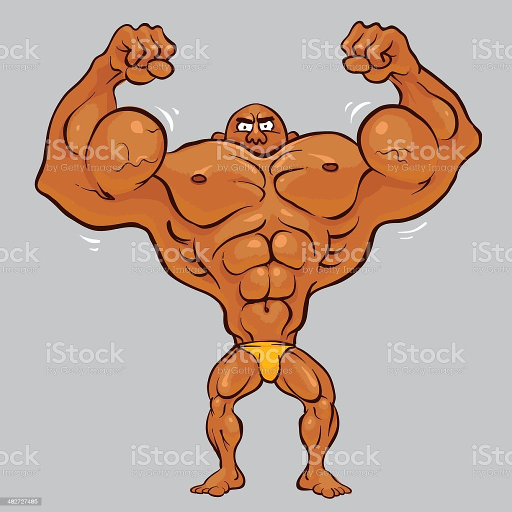 cartoon body builder man flexing his big shiny bicep muscles stock