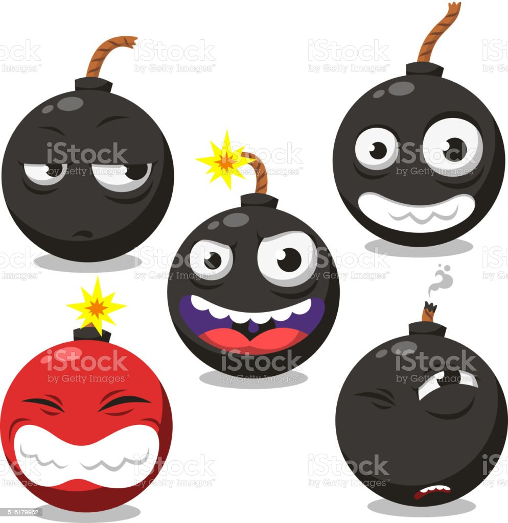 cartoon bomb set 2 vector art illustration