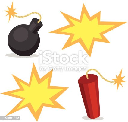 istock Cartoon Bombs and Explosions 165591418