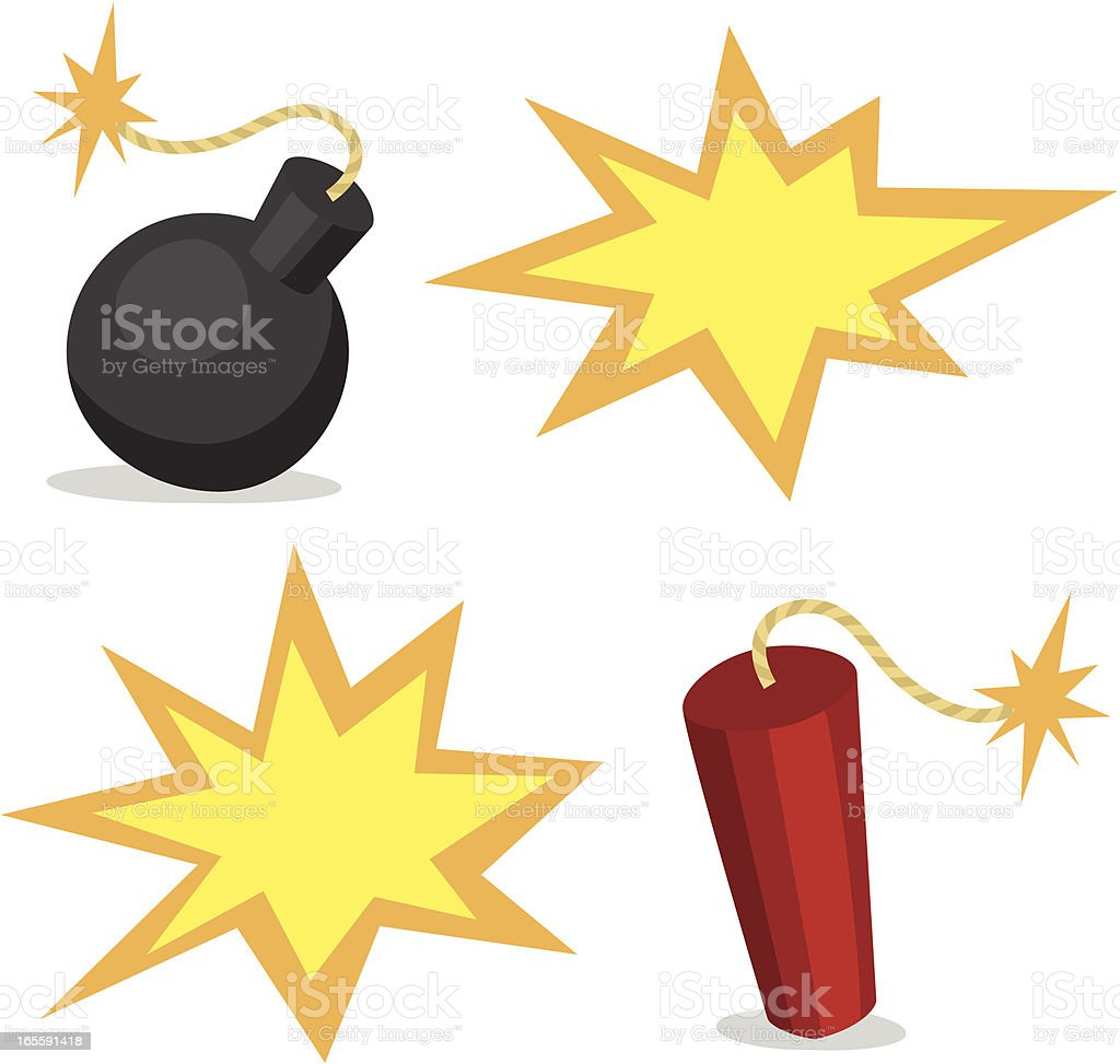 Cartoon Bombs and Explosions vector art illustration