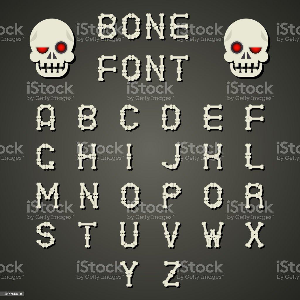 Cartoon Bone Alphabet A To Z Flat Design Font Symbol Stock Vector