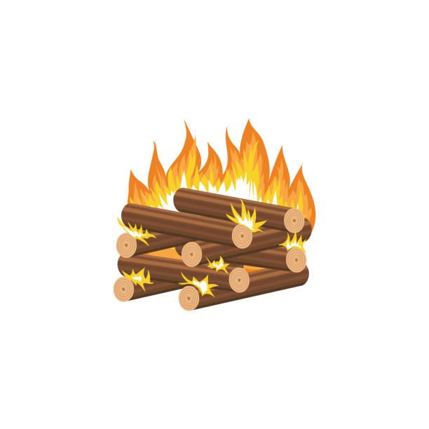 cartoon lagerfeuer - blockhütte methode der brennholz stapeln mit brennenden holzstücke in ordentlich quadratischer form gestapelt - stapelbett stock-grafiken, -clipart, -cartoons und -symbole
