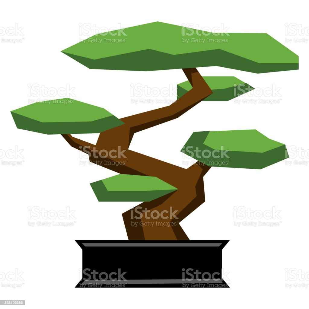 Cartoon Bonsai Isolated On White Background - illustrazione arte vettoriale